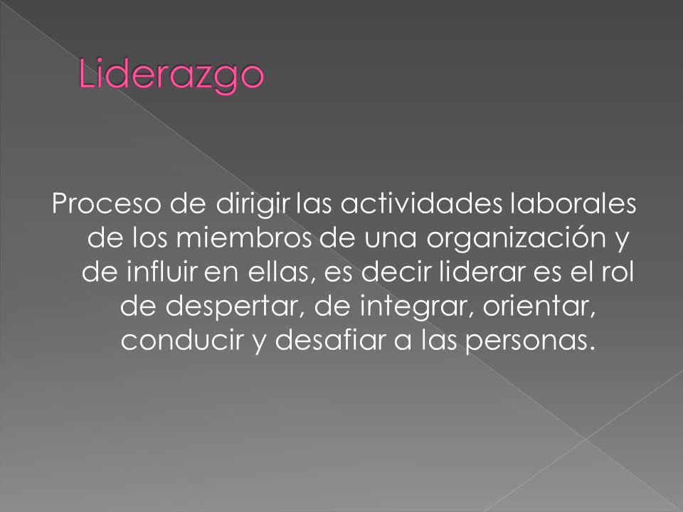 Proceso de dirigir las actividades laborales de los miembros de una organización y de influir en ellas, es decir liderar es el rol de despertar, de in