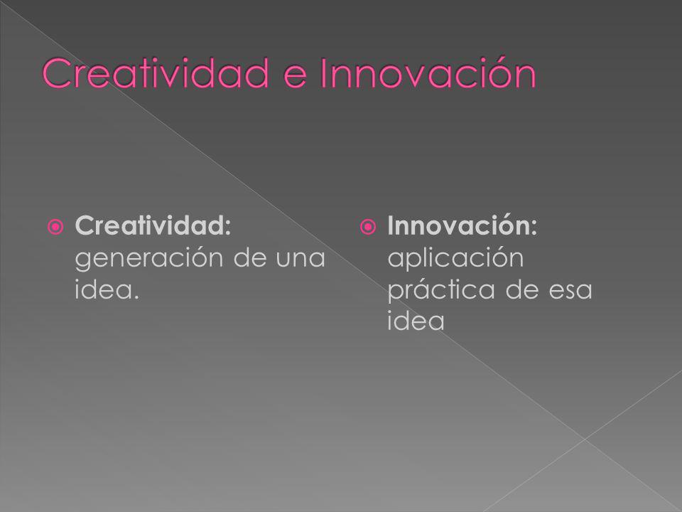 Creatividad: generación de una idea. Innovación: aplicación práctica de esa idea