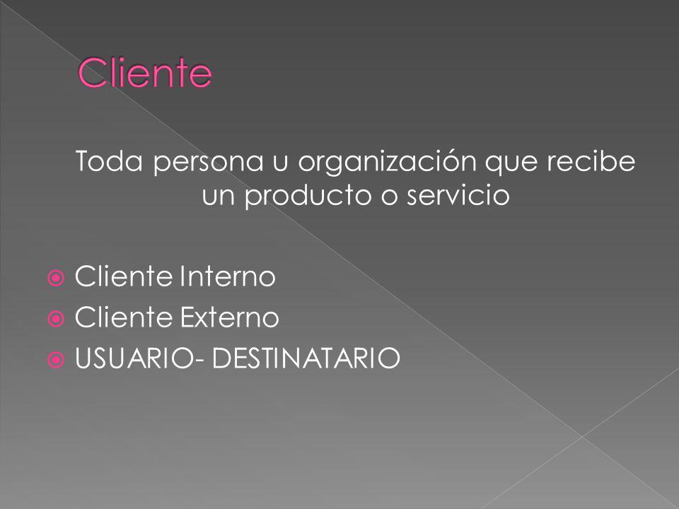 Toda persona u organización que recibe un producto o servicio Cliente Interno Cliente Externo USUARIO- DESTINATARIO