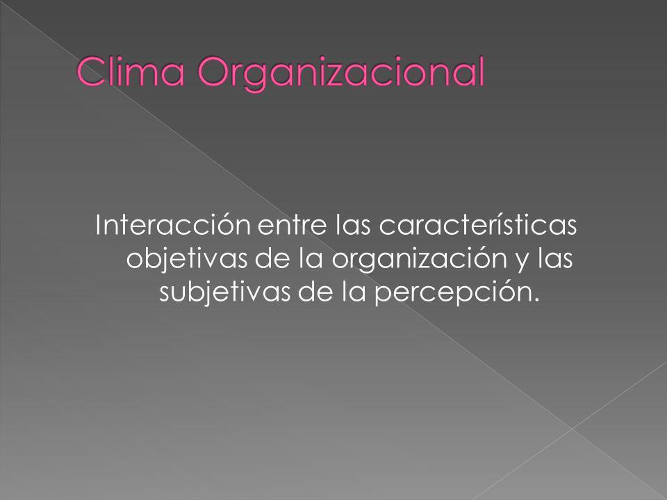 Interacción entre las características objetivas de la organización y las subjetivas de la percepción.