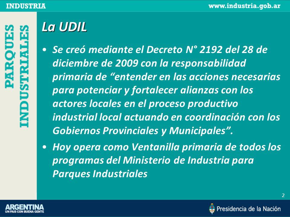 2 La UDIL Se creó mediante el Decreto N° 2192 del 28 de diciembre de 2009 con la responsabilidad primaria de entender en las acciones necesarias para potenciar y fortalecer alianzas con los actores locales en el proceso productivo industrial local actuando en coordinación con los Gobiernos Provinciales y Municipales.