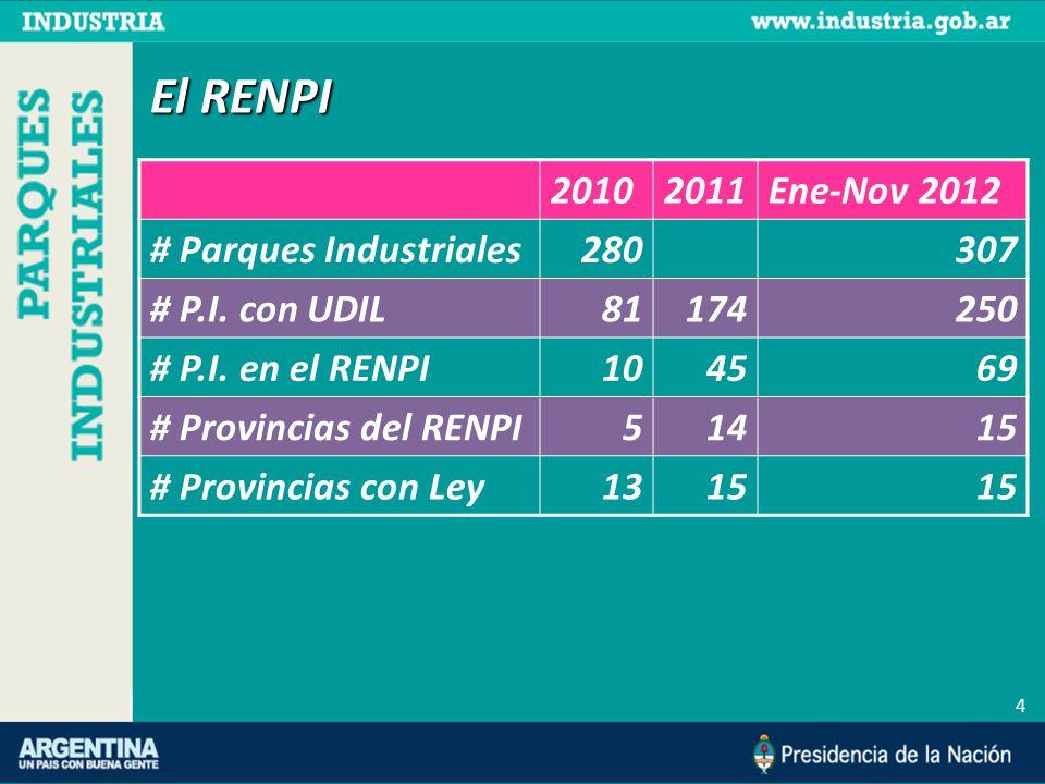 El RENPI 4 20102011Ene-Nov 2012 # Parques Industriales280307 # P.I.