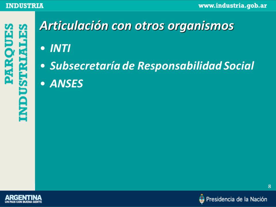 Articulación con otros organismos INTI Subsecretaría de Responsabilidad Social ANSES 8