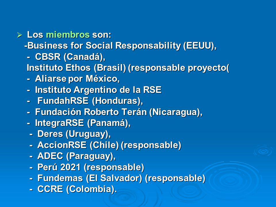 Los miembros son: Los miembros son: -Business for Social Responsability (EEUU), -Business for Social Responsability (EEUU), - CBSR (Canadá), - CBSR (Canadá), Instituto Ethos (Brasil) (responsable proyecto( Instituto Ethos (Brasil) (responsable proyecto( - Aliarse por México, - Aliarse por México, - Instituto Argentino de la RSE - Instituto Argentino de la RSE - FundahRSE (Honduras), - FundahRSE (Honduras), - Fundación Roberto Terán (Nicaragua), - Fundación Roberto Terán (Nicaragua), - IntegraRSE (Panamá), - IntegraRSE (Panamá), - Deres (Uruguay), - Deres (Uruguay), - AccionRSE (Chile) (responsable) - AccionRSE (Chile) (responsable) - ADEC (Paraguay), - ADEC (Paraguay), - Perú 2021 (responsable) - Perú 2021 (responsable) - Fundemas (El Salvador) (responsable) - Fundemas (El Salvador) (responsable) - CCRE (Colombia).