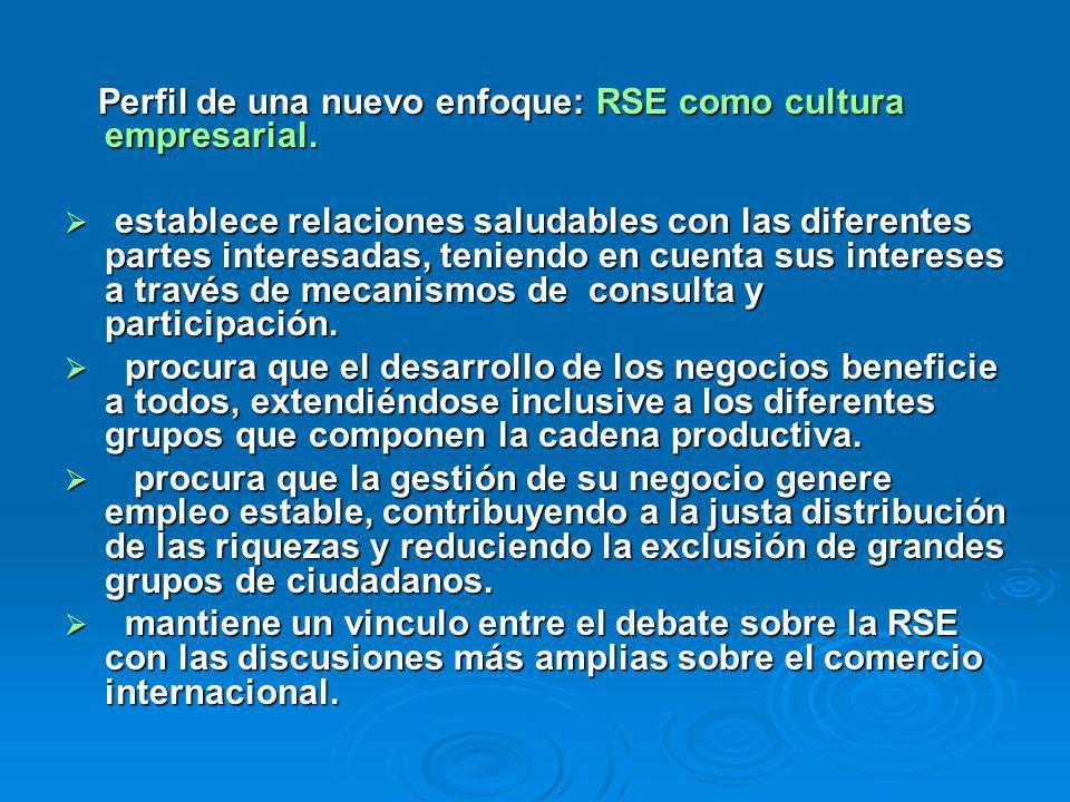 Perfil de una nuevo enfoque: RSE como cultura empresarial. Perfil de una nuevo enfoque: RSE como cultura empresarial. establece relaciones saludables