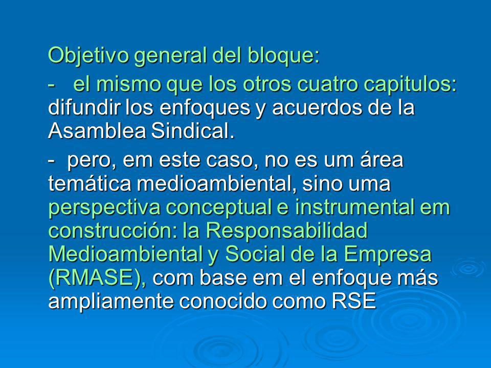 Objetivo general del bloque: Objetivo general del bloque: - el mismo que los otros cuatro capitulos: difundir los enfoques y acuerdos de la Asamblea Sindical.