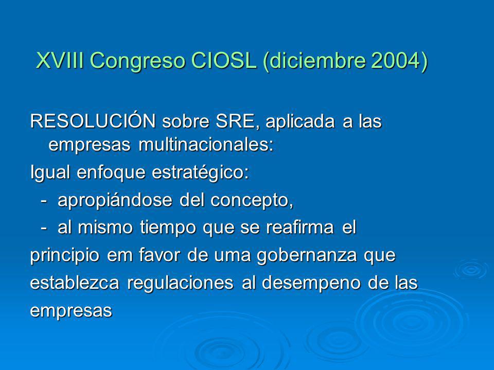XVIII Congreso CIOSL (diciembre 2004) XVIII Congreso CIOSL (diciembre 2004) RESOLUCIÓN sobre SRE, aplicada a las empresas multinacionales: Igual enfoque estratégico: - apropiándose del concepto, - apropiándose del concepto, - al mismo tiempo que se reafirma el - al mismo tiempo que se reafirma el principio em favor de uma gobernanza que establezca regulaciones al desempeno de las empresas