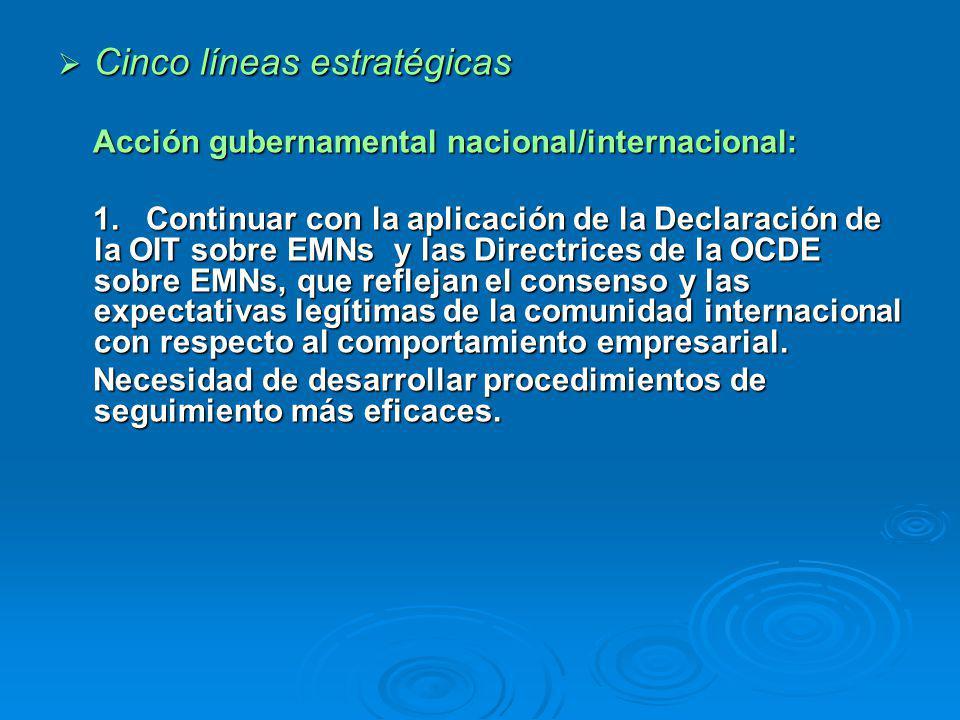 Cinco líneas estratégicas Cinco líneas estratégicas Acción gubernamental nacional/internacional: Acción gubernamental nacional/internacional: 1.