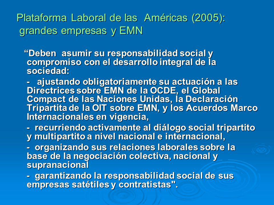 Plataforma Laboral de las Américas (2005): grandes empresas y EMN grandes empresas y EMN Deben asumir su responsabilidad social y compromiso con el de