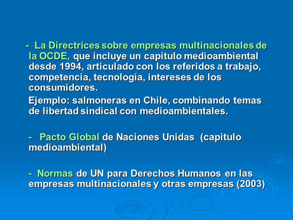 - La Directrices sobre empresas multinacionales de la OCDE, que incluye un capitulo medioambiental desde 1994, articulado con los referidos a trabajo, competencia, tecnología, intereses de los consumidores.