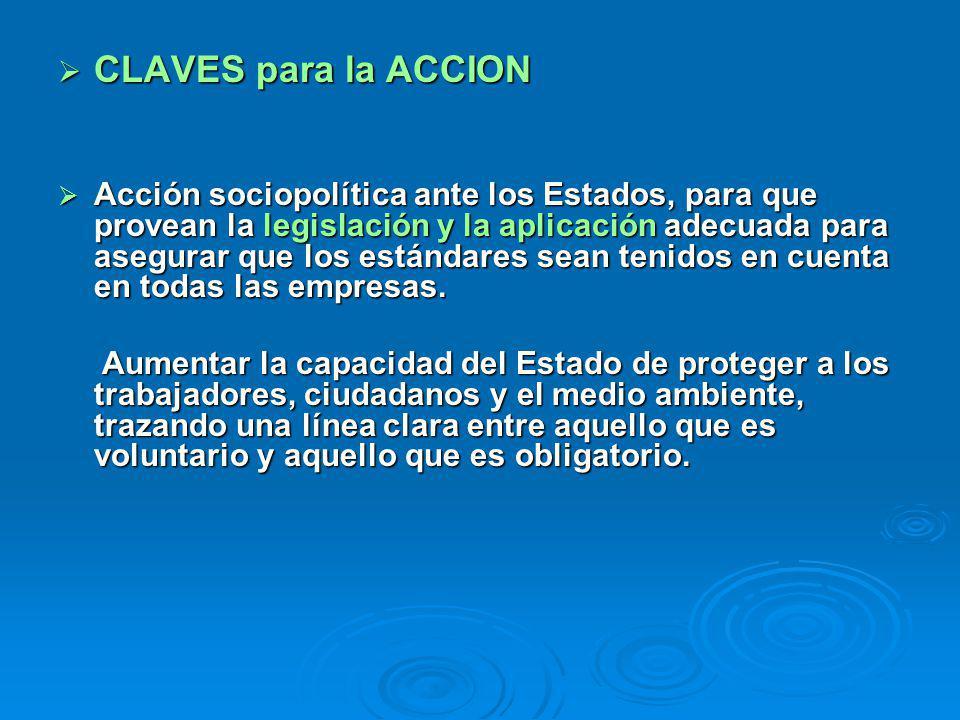CLAVES para la ACCION CLAVES para la ACCION Acción sociopolítica ante los Estados, para que provean la legislación y la aplicación adecuada para asegu