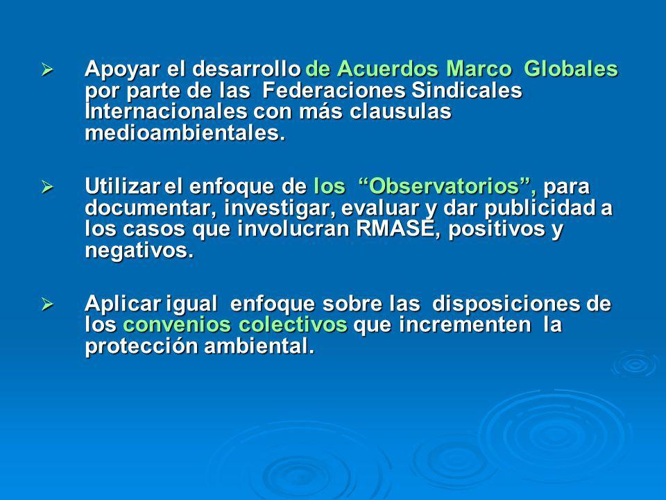 Apoyar el desarrollo de Acuerdos Marco Globales por parte de las Federaciones Sindicales Internacionales con más clausulas medioambientales. Apoyar el
