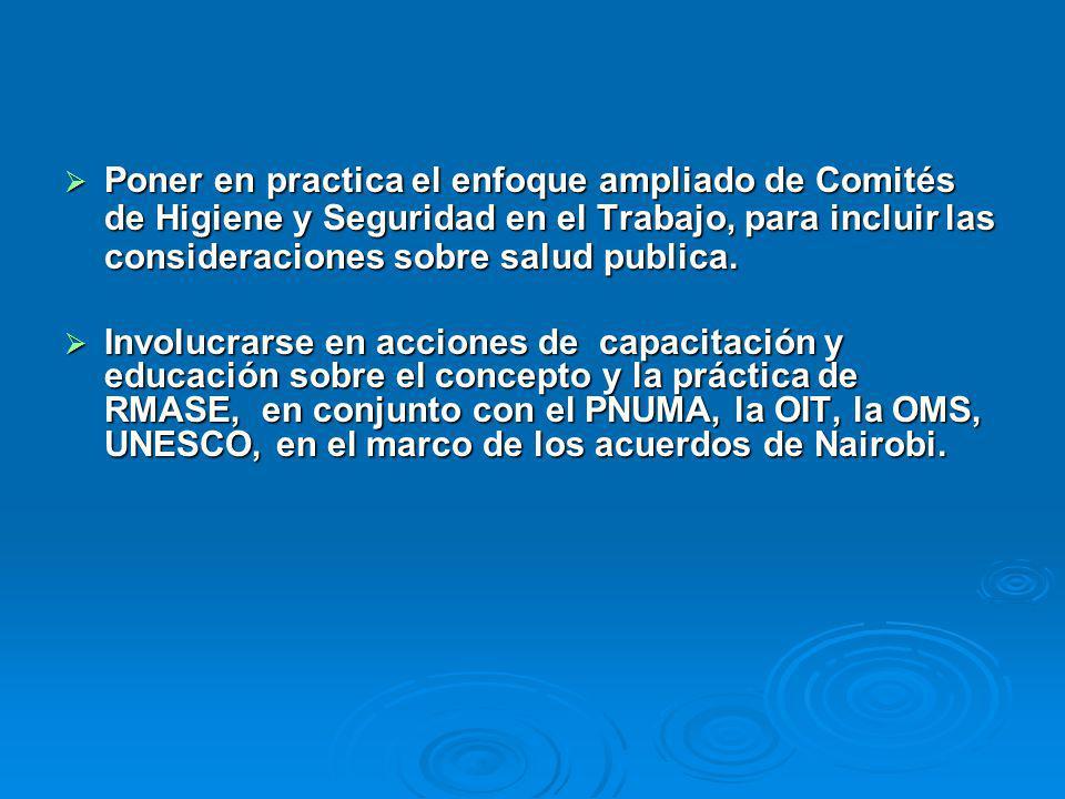 Poner en practica el enfoque ampliado de Comités de Higiene y Seguridad en el Trabajo, para incluir las consideraciones sobre salud publica.