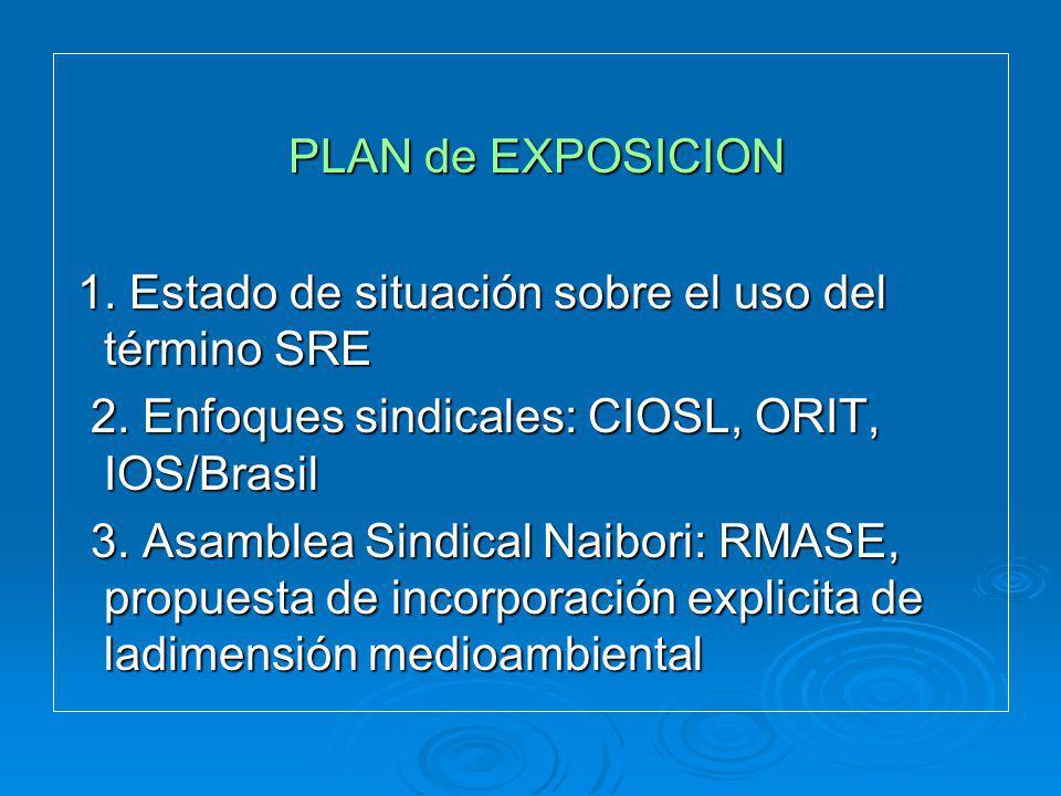 PLAN de EXPOSICION PLAN de EXPOSICION 1. Estado de situación sobre el uso del término SRE 1. Estado de situación sobre el uso del término SRE 2. Enfoq