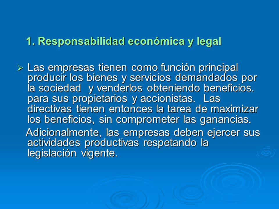 1. Responsabilidad económica y legal 1. Responsabilidad económica y legal Las empresas tienen como función principal producir los bienes y servicios d