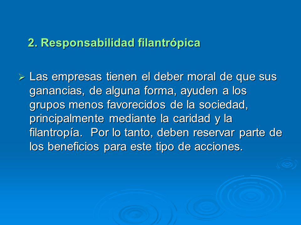 2. Responsabilidad filantrópica 2. Responsabilidad filantrópica Las empresas tienen el deber moral de que sus ganancias, de alguna forma, ayuden a los