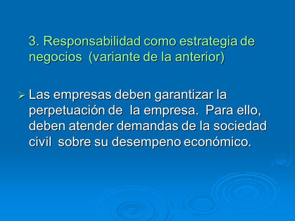 3. Responsabilidad como estrategia de negocios (variante de la anterior) 3. Responsabilidad como estrategia de negocios (variante de la anterior) Las