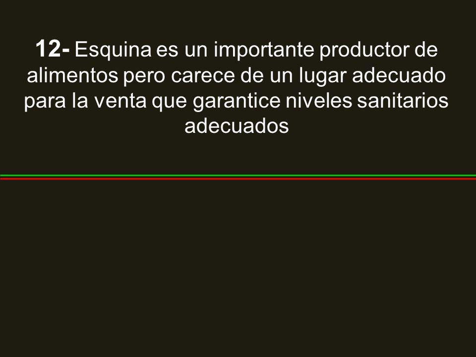 12- Esquina es un importante productor de alimentos pero carece de un lugar adecuado para la venta que garantice niveles sanitarios adecuados