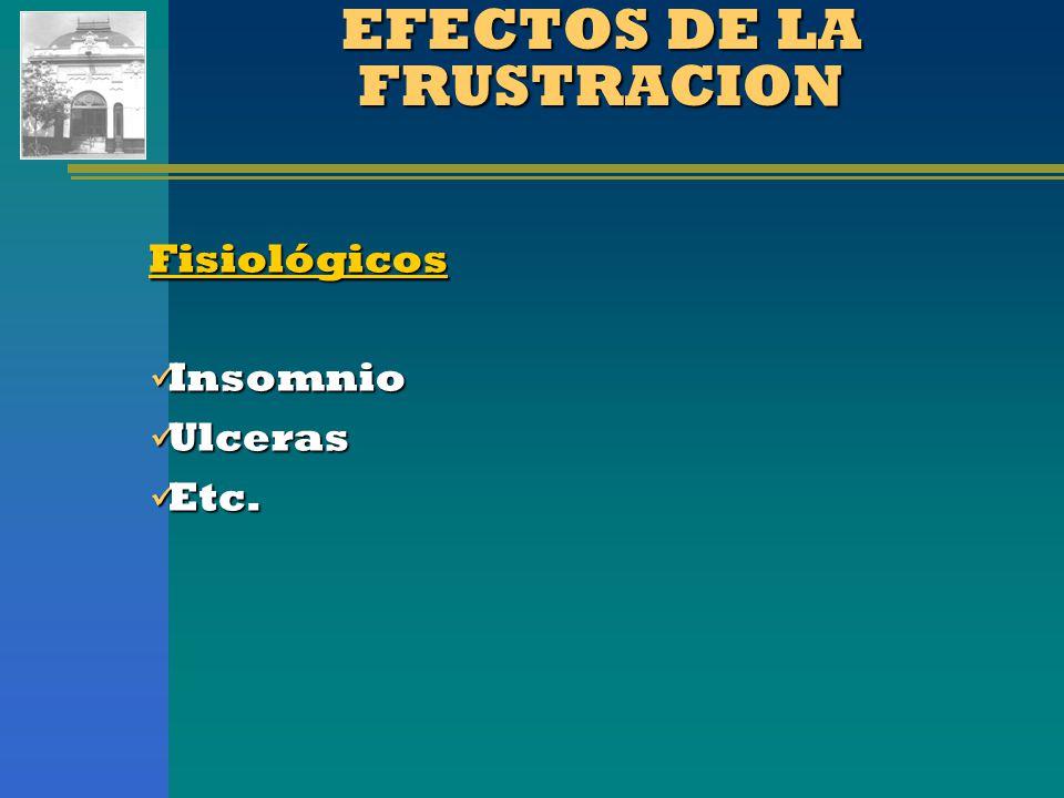 EFECTOS DE LA FRUSTRACION Fisiológicos Insomnio Insomnio Ulceras Ulceras Etc. Etc.