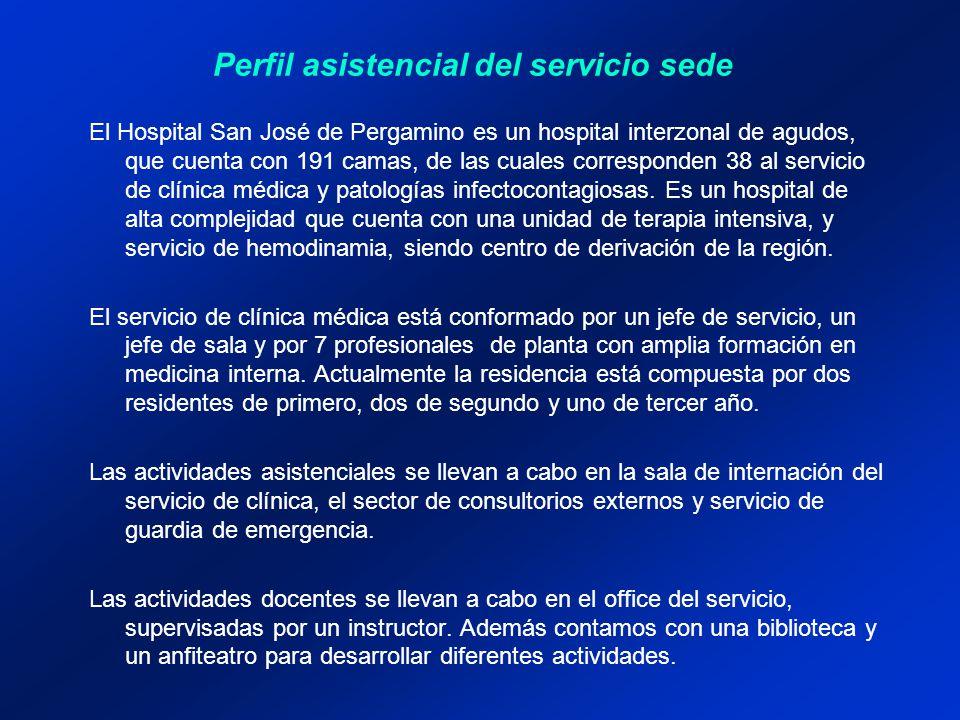 El Hospital San José de Pergamino es un hospital interzonal de agudos, que cuenta con 191 camas, de las cuales corresponden 38 al servicio de clínica médica y patologías infectocontagiosas.