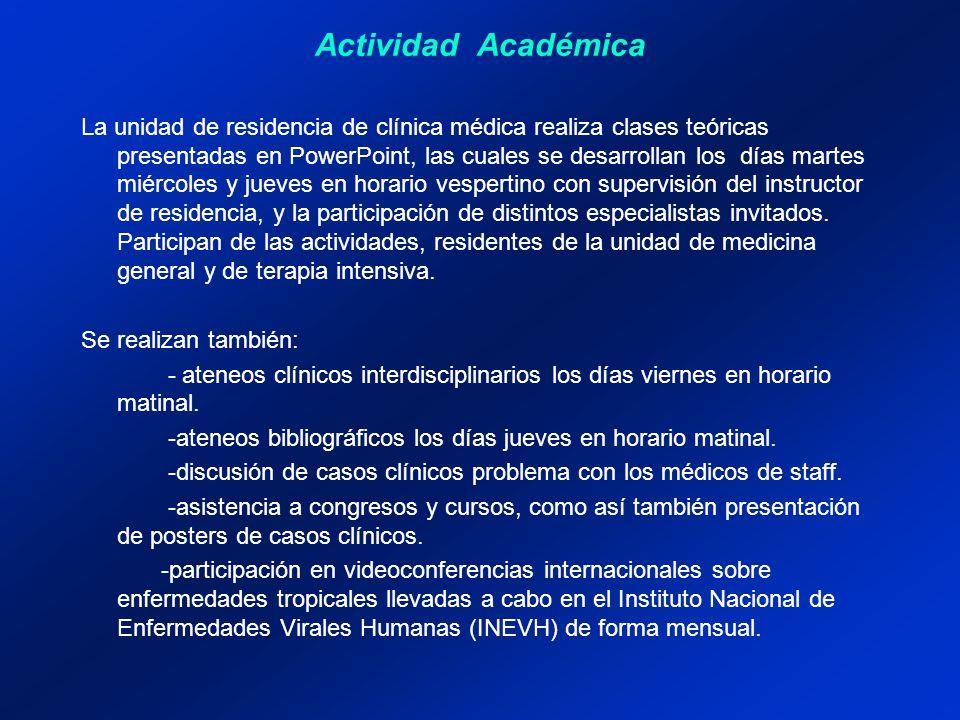Actividad Académica La unidad de residencia de clínica médica realiza clases teóricas presentadas en PowerPoint, las cuales se desarrollan los días ma
