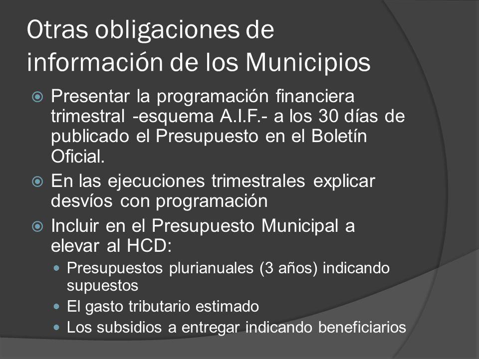 Otras obligaciones de información de los Municipios Presentar la programación financiera trimestral -esquema A.I.F.- a los 30 días de publicado el Presupuesto en el Boletín Oficial.