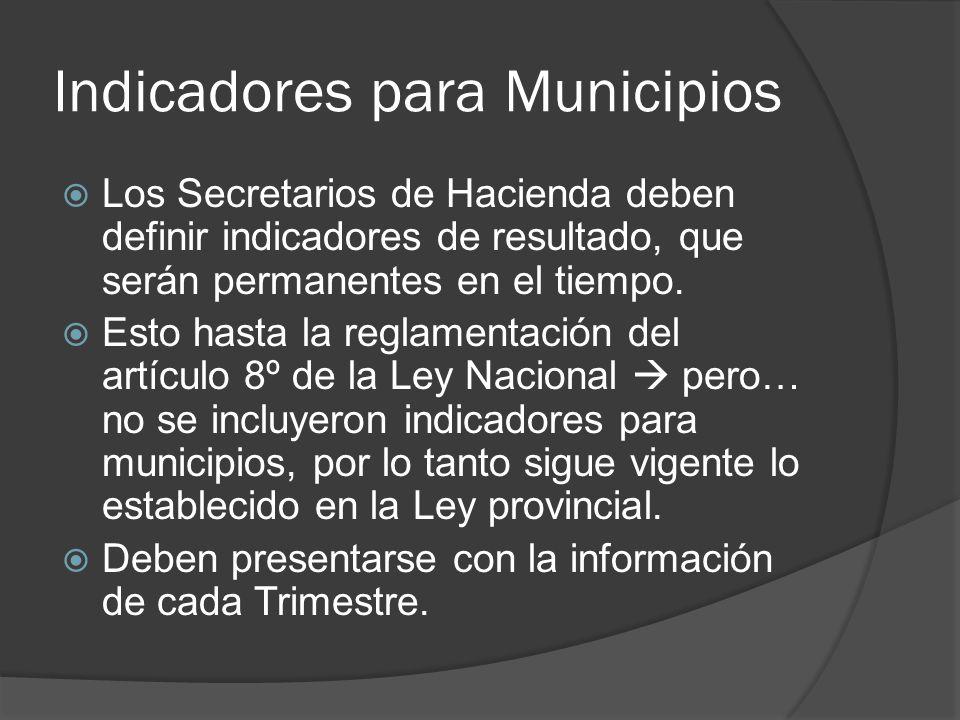 Indicadores para Municipios Los Secretarios de Hacienda deben definir indicadores de resultado, que serán permanentes en el tiempo. Esto hasta la regl