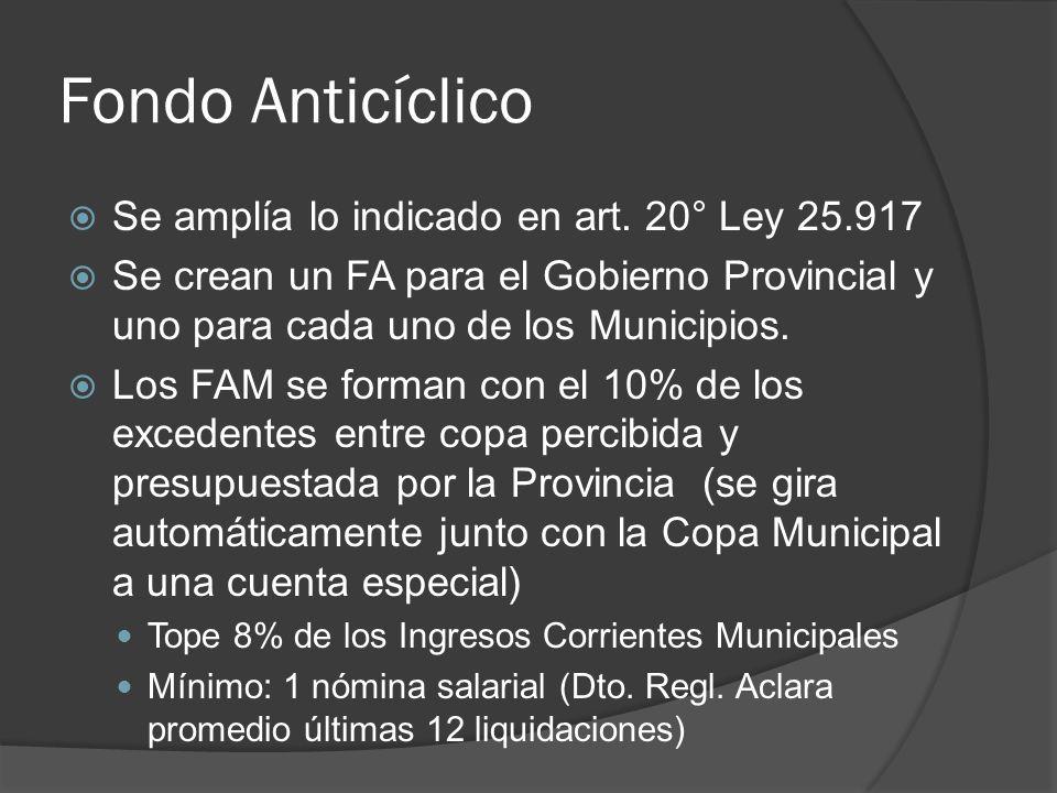 Fondo Anticíclico Se amplía lo indicado en art. 20° Ley 25.917 Se crean un FA para el Gobierno Provincial y uno para cada uno de los Municipios. Los F