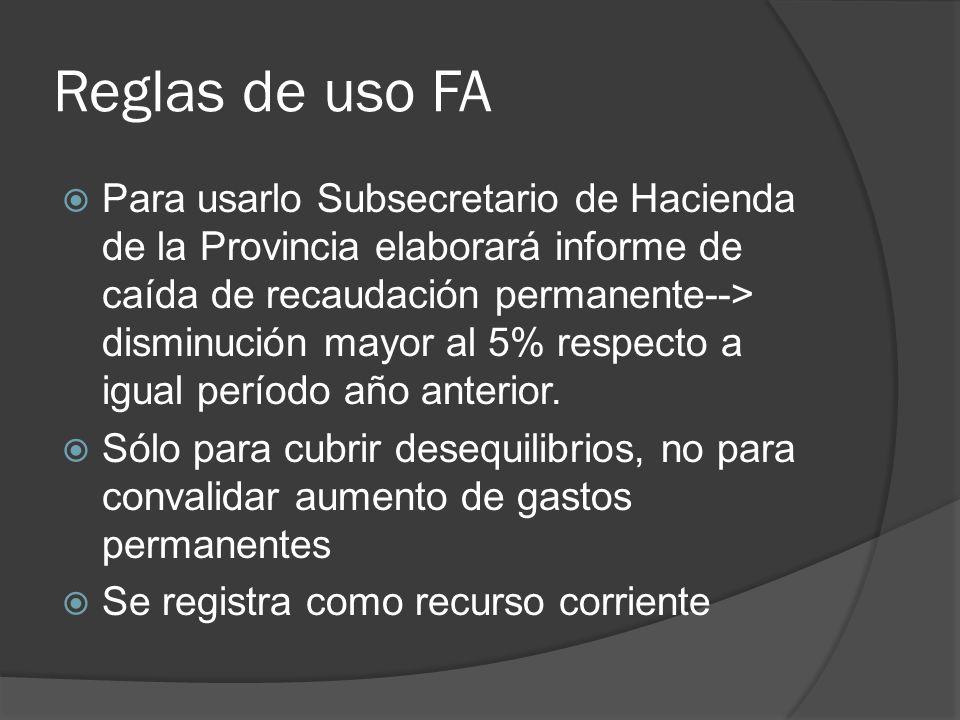 Reglas de uso FA Para usarlo Subsecretario de Hacienda de la Provincia elaborará informe de caída de recaudación permanente--> disminución mayor al 5% respecto a igual período año anterior.