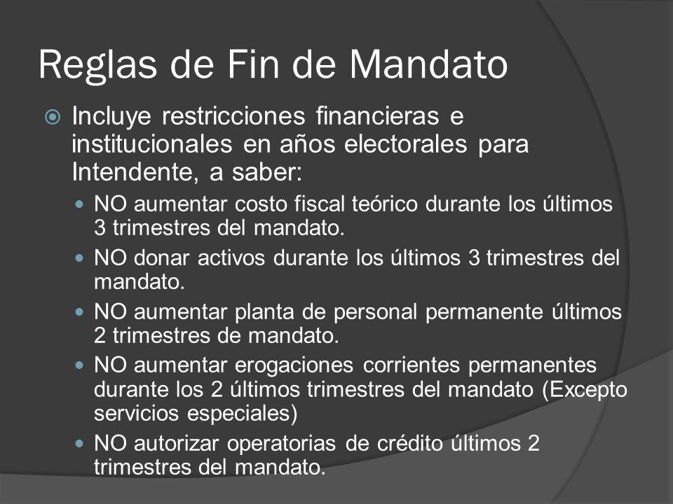 Reglas de Fin de Mandato Incluye restricciones financieras e institucionales en años electorales para Intendente, a saber: NO aumentar costo fiscal teórico durante los últimos 3 trimestres del mandato.