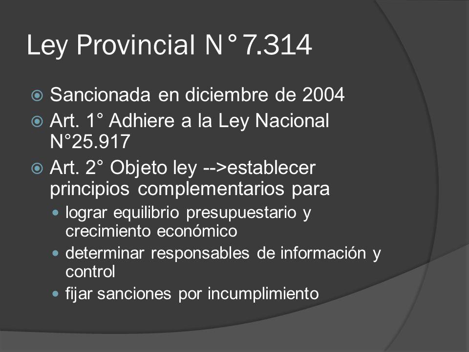 Ley Provincial N°7.314 Sancionada en diciembre de 2004 Art. 1° Adhiere a la Ley Nacional N°25.917 Art. 2° Objeto ley -->establecer principios compleme