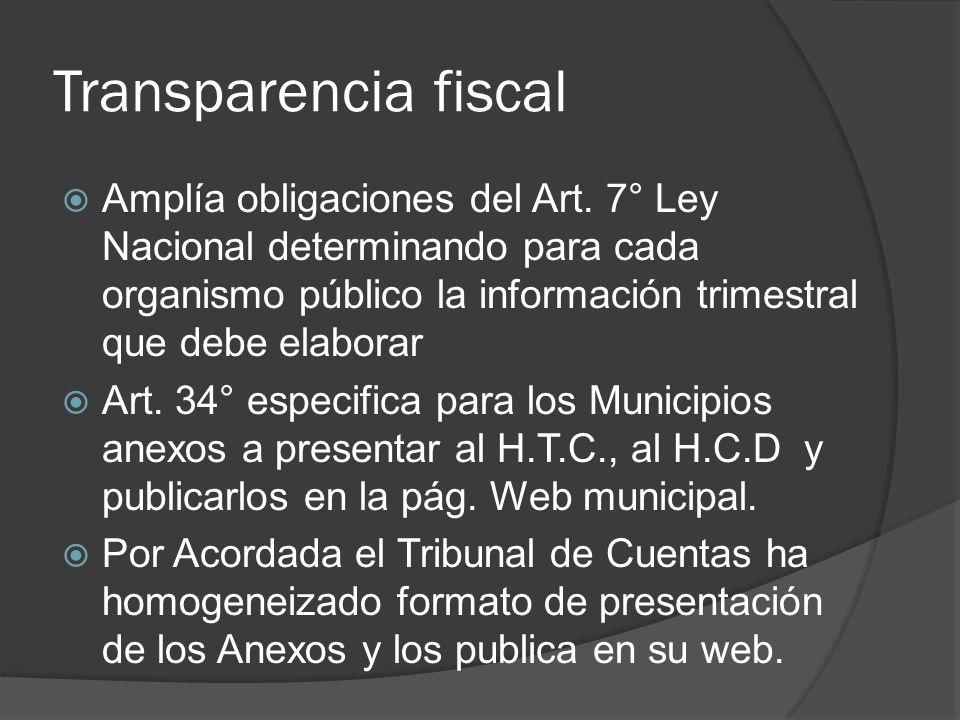 Transparencia fiscal Amplía obligaciones del Art. 7° Ley Nacional determinando para cada organismo público la información trimestral que debe elaborar