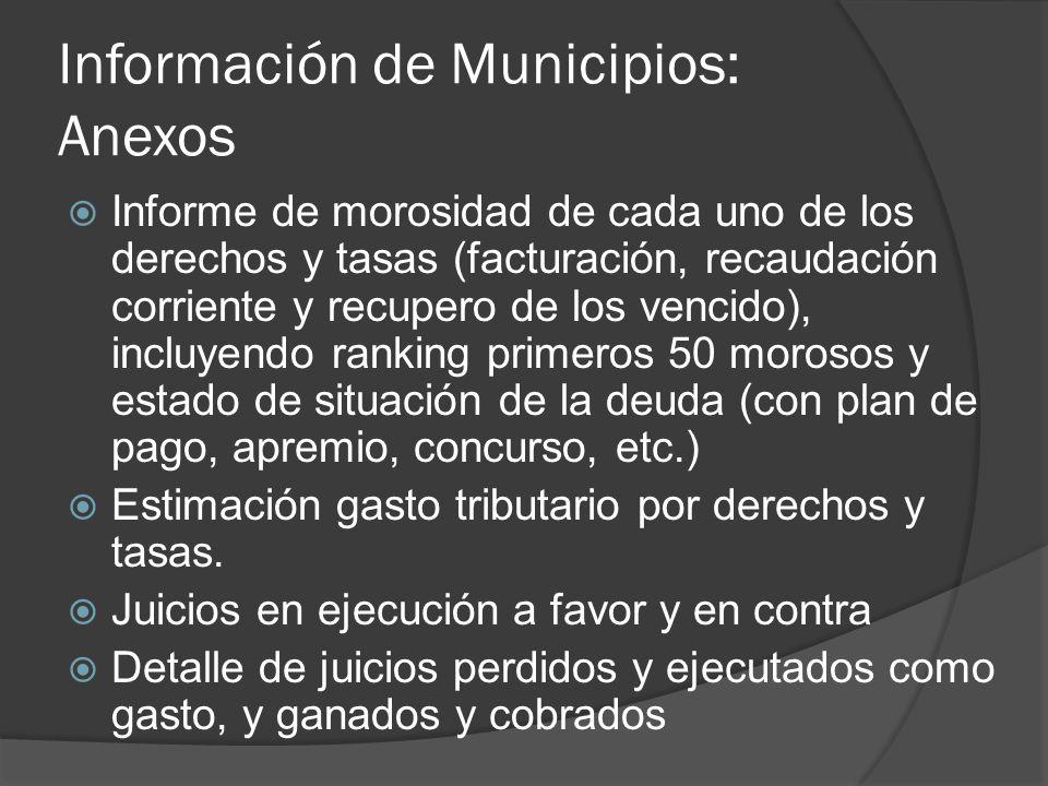 Información de Municipios: Anexos Informe de morosidad de cada uno de los derechos y tasas (facturación, recaudación corriente y recupero de los venci