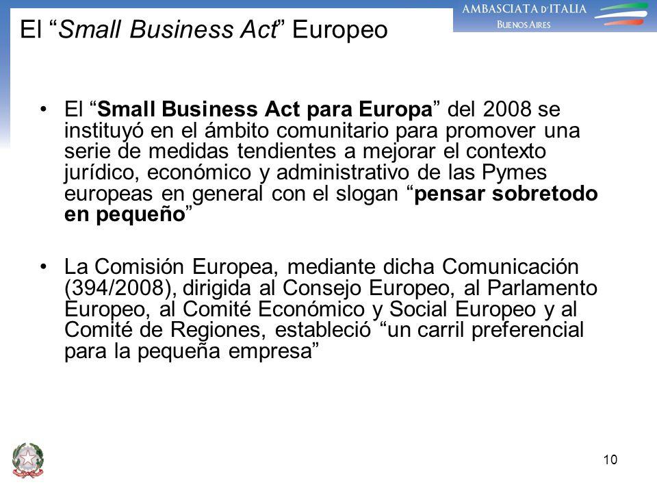 10 El Small Business Act Europeo El Small Business Act para Europa del 2008 se instituyó en el ámbito comunitario para promover una serie de medidas t