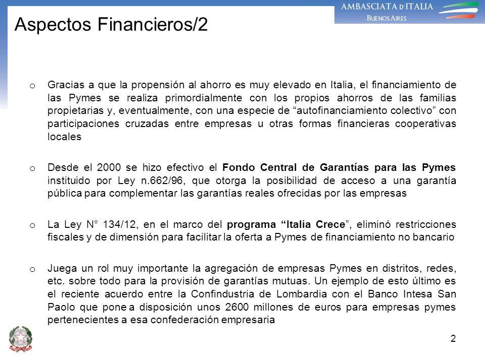 2 Aspectos Financieros/2 o Gracias a que la propensión al ahorro es muy elevado en Italia, el financiamiento de las Pymes se realiza primordialmente c
