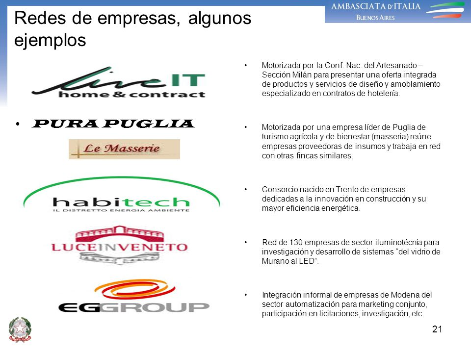 21 Redes de empresas, algunos ejemplos PURA PUGLIA Motorizada por la Conf. Nac. del Artesanado – Sección Milán para presentar una oferta integrada de
