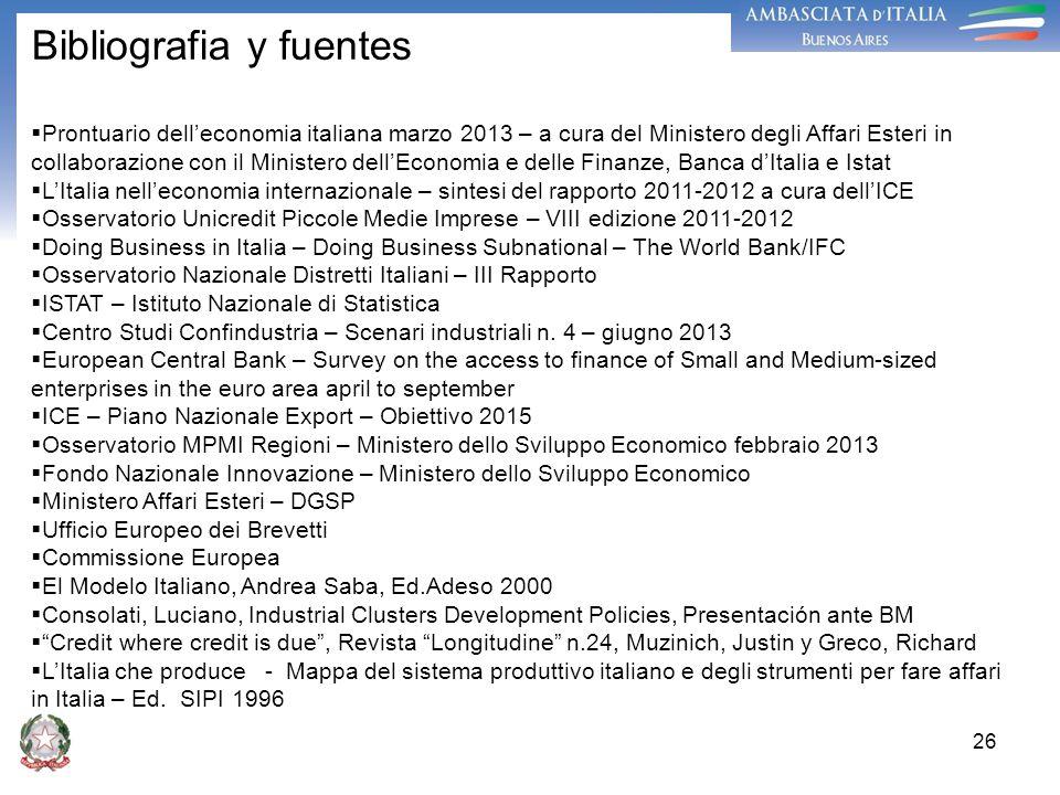 26 Bibliografia y fuentes Prontuario delleconomia italiana marzo 2013 – a cura del Ministero degli Affari Esteri in collaborazione con il Ministero de