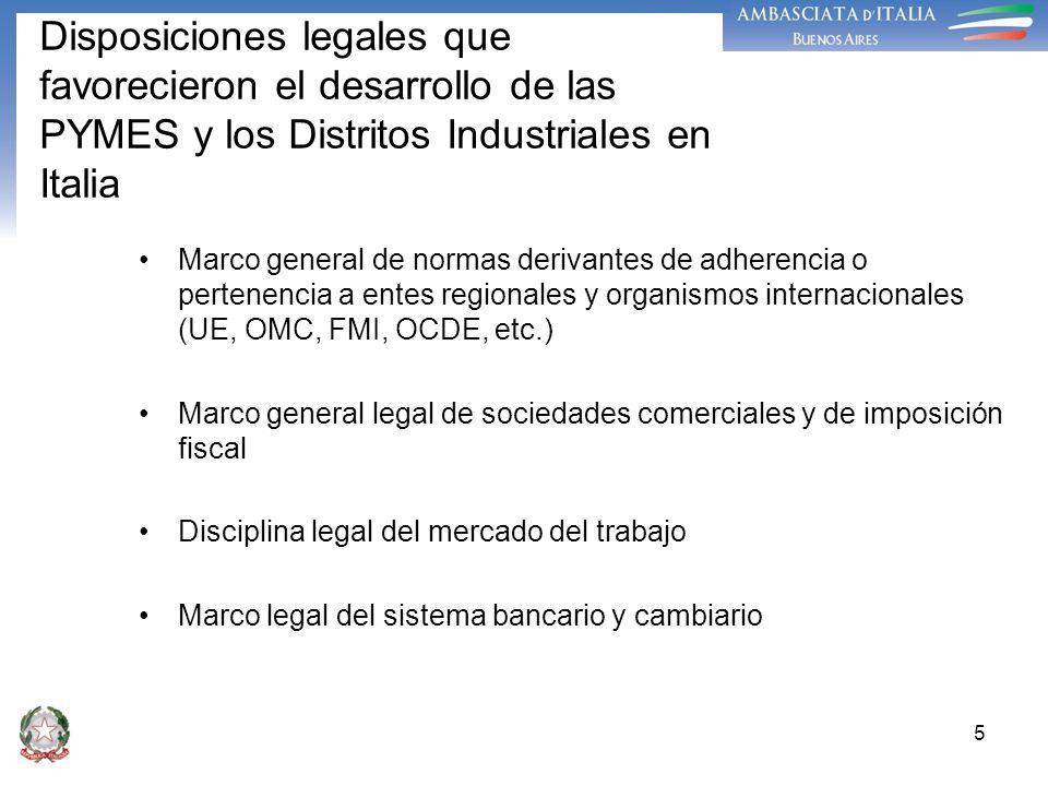 5 Disposiciones legales que favorecieron el desarrollo de las PYMES y los Distritos Industriales en Italia Marco general de normas derivantes de adher