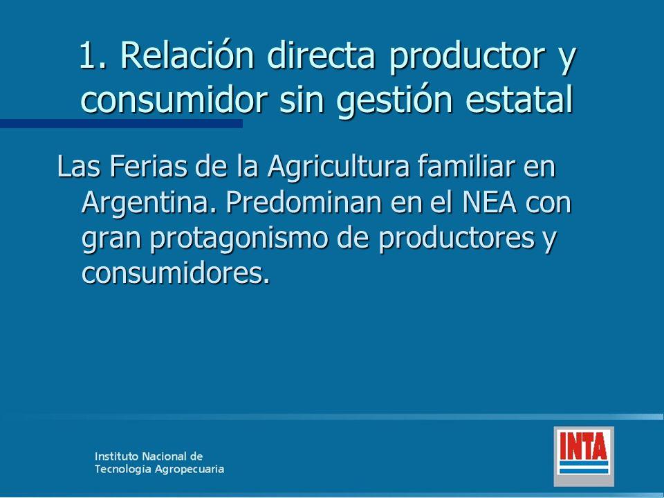 1. Relación directa productor y consumidor sin gestión estatal Las Ferias de la Agricultura familiar en Argentina. Predominan en el NEA con gran prota