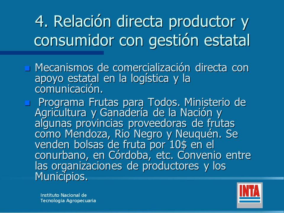 4. Relación directa productor y consumidor con gestión estatal n Mecanismos de comercialización directa con apoyo estatal en la logística y la comunic