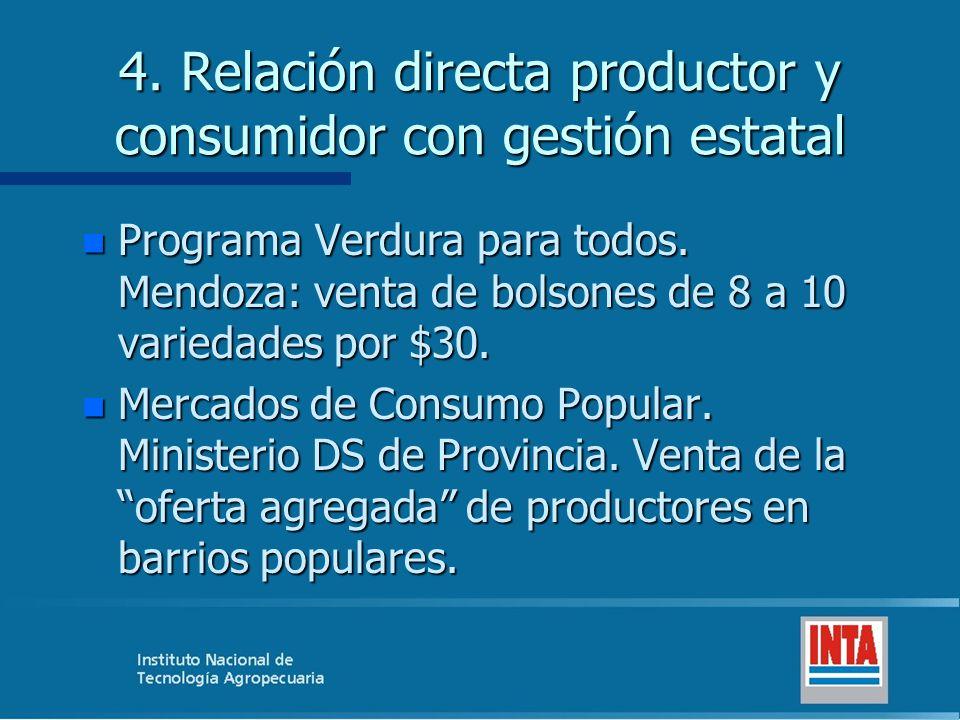 4. Relación directa productor y consumidor con gestión estatal n Programa Verdura para todos. Mendoza: venta de bolsones de 8 a 10 variedades por $30.