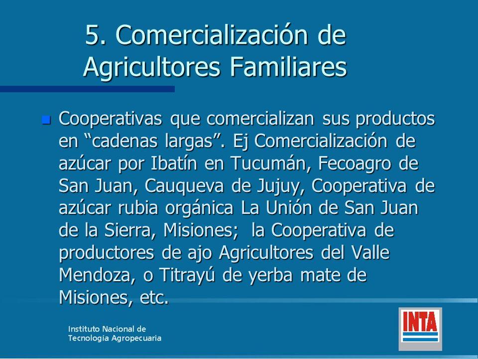 5. Comercialización de Agricultores Familiares n Cooperativas que comercializan sus productos en cadenas largas. Ej Comercialización de azúcar por Iba