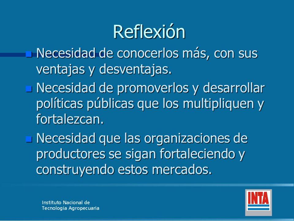 Reflexión n Necesidad de conocerlos más, con sus ventajas y desventajas. n Necesidad de promoverlos y desarrollar políticas públicas que los multipliq