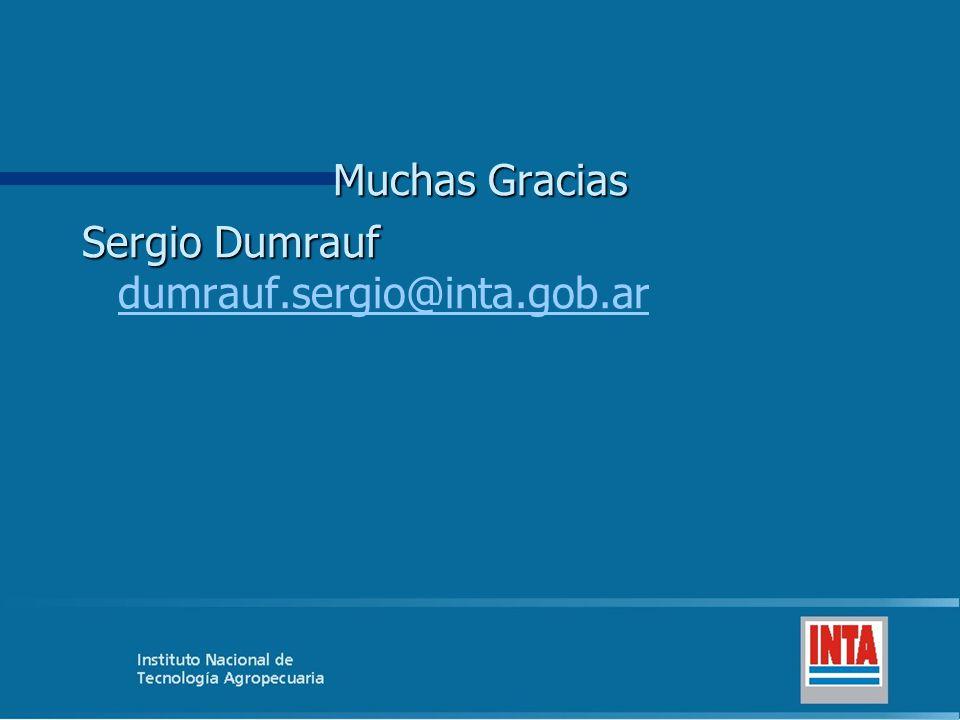 Muchas Gracias Sergio Dumrauf Sergio Dumrauf dumrauf.sergio@inta.gob.ar dumrauf.sergio@inta.gob.ar