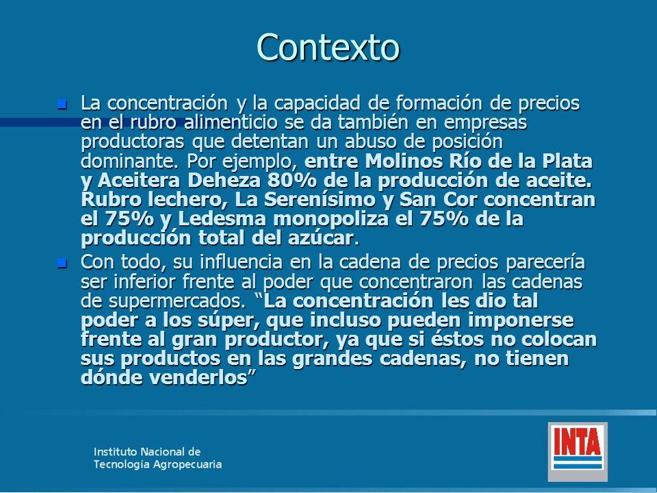 Contexto n La concentración y la capacidad de formación de precios en el rubro alimenticio se da también en empresas productoras que detentan un abuso de posición dominante.