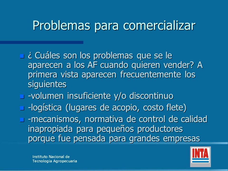 Problemas para comercializar n ¿ Cuáles son los problemas que se le aparecen a los AF cuando quieren vender.
