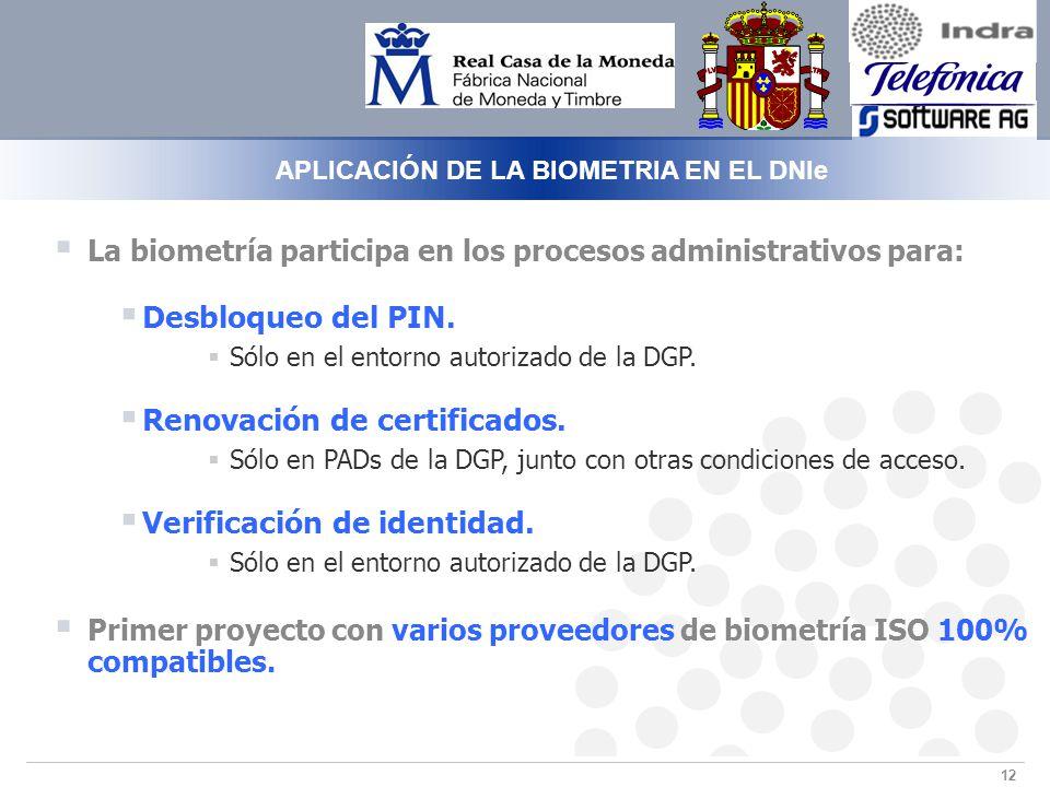 12 APLICACIÓN DE LA BIOMETRIA EN EL DNIe La biometría participa en los procesos administrativos para: Desbloqueo del PIN.