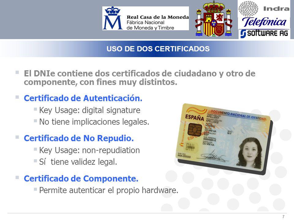 7 USO DE DOS CERTIFICADOS El DNIe contiene dos certificados de ciudadano y otro de componente, con fines muy distintos.