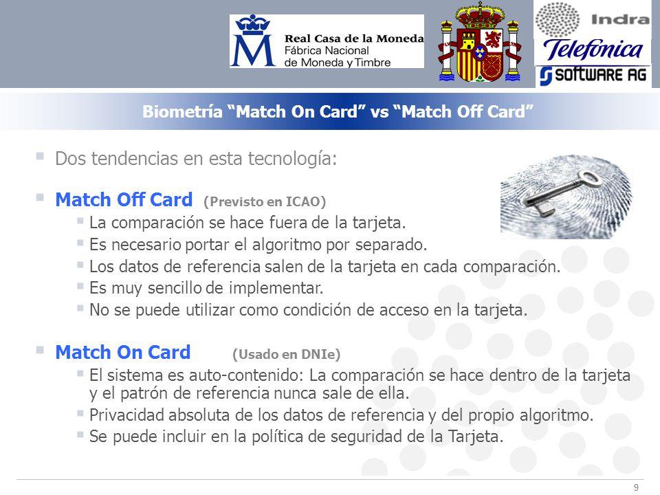 9 Biometría Match On Card vs Match Off Card Dos tendencias en esta tecnología: Match Off Card (Previsto en ICAO) La comparación se hace fuera de la tarjeta.