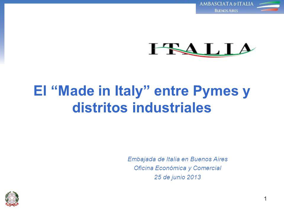 1 El Made in Italy entre Pymes y distritos industriales Embajada de Italia en Buenos Aires Oficina Económica y Comercial 25 de junio 2013